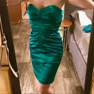 Silky green cocktail dress, size 5